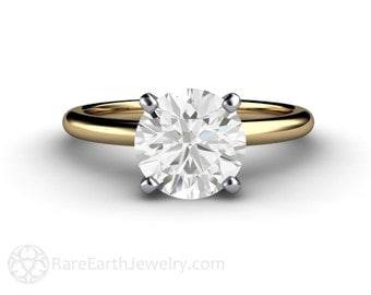 2ct Classic Forever One Moissanite Solitaire Engagement Ring Conflict Free 14K or 18K Gold or Platinum