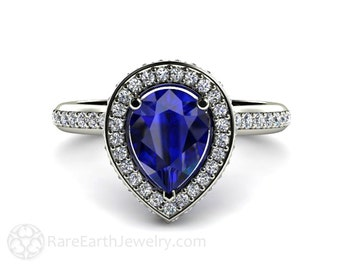 Blue Sapphire Engagement Ring Pear Halo Diamond Sapphire Ring 14K or 18K Gold Custom Wedding Ring