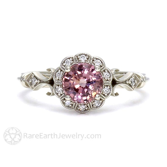 Art Deco Ring Pink Spinel Ring Vintage Engagement Ring