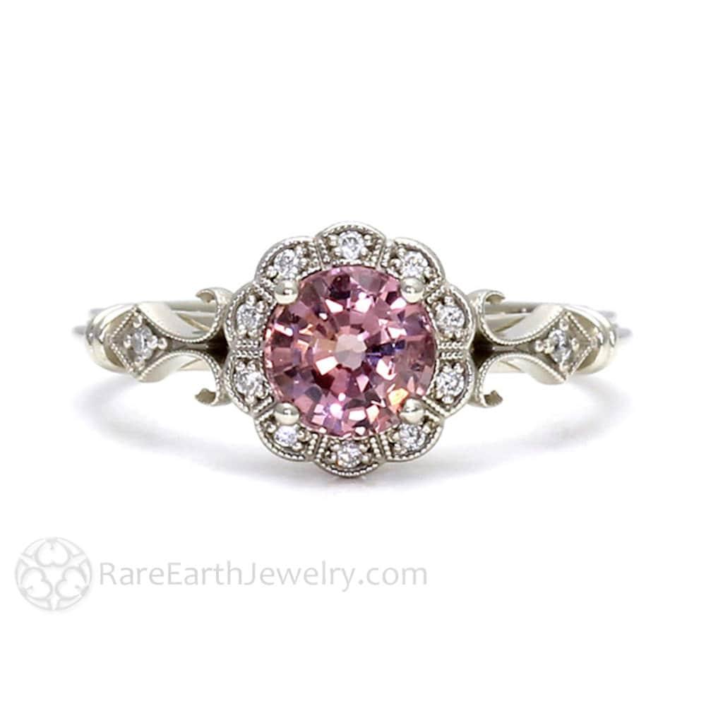Art Deco Ring Pink Spinel Ring Vintage Engagement Ring