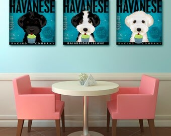 Havanese dog Cupcake Company illustration graphic art on gallery wrapped canvas by stephen fowler