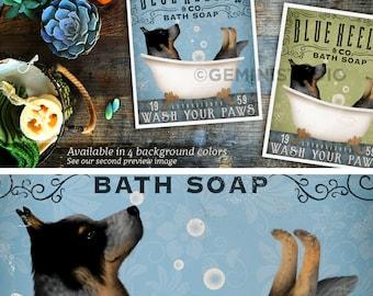 Blue Heeler australian cattle dog bath soap Company vintage style artwork by Stephen Fowler Giclee Signed Print UNFRAMED