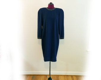 Vintage Liz Claiborne Dress, Punk Influence, Studded Neckline and Sleeve Cuff, Dark Navy Blue, Office or Cocktail, Day or Evening