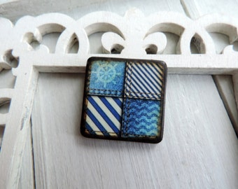 "Nautical Sailboat Wheel Light Blue Jean Stonewashed Wave Seersucker Stripe 1"" Square Pendant ART Tile"