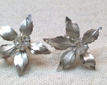 Vintage Bugbee and Niles Floral Earring , Screw Back, Silver Tone Pointsettia