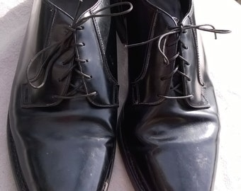 The Florsheim Shoe , Executive Footwear, Black Leather Shoe, Mad Men Shoes, Mid Century Exec , sz 11.5 D