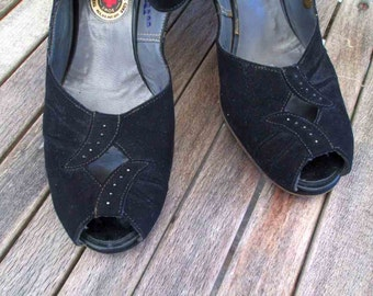 40s Black Peep Toe Shoes vintage Black Suede peeptoe 40s black suede shoes vintage 40s slingbacks 7