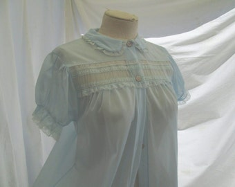 Blue chiffon negligee 50s Vintage Sheer Robe Pastel blue Nylon Robe puffy sleeves S/M