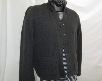 Gray 50s Sweater Penney's Towncraft Vintage 50s Cardigan sweater Vintage Gray wool Sweater button front V neck sweater M