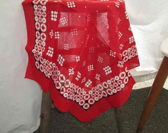 White Dots Vintage Red Bandana 100% cotton Floral designs Made in USA 70s Bandana colorfast Red Kerchief