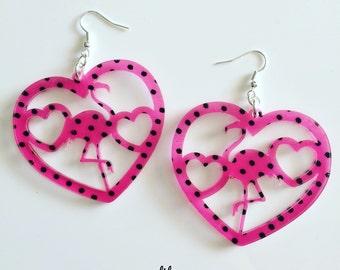 Flamingo Polka hearts earrings laser cut