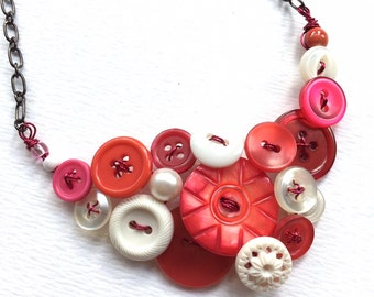 Christmas in July Sale Pomegranate Pink and White Vintage Button Statement Necklace