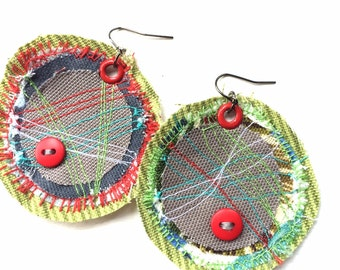 Stitched Fabric with Red Buttons OOAK Circle Earrings in Lime Green, Gray, Blue, and Red
