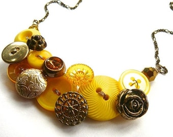Winter sale Statement Button Necklace Gold Brass and Yellow