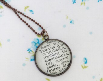 Taurus word necklace, Taurus astrological sign necklace, one of a kind vintage dictionary word necklace, gift for a taurus