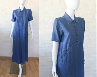 90s Vintage Medium Blue Jean Denim Midi Day Dress Size S to M