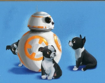 BB-8 droid with puppy - Boston Terrier Magnet