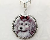 Pink Poodle Necklace Jewelry, Pet Dog Necklace, Broken China Jewelry, Animal, Dog lover Gift