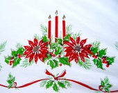 "Vintage Christmas Tablecloth - 48 x 66"" - 1950s"