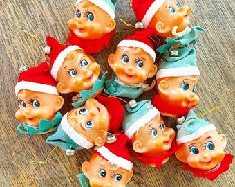 Santa's Little Helpers... Complete Set of 10 Vintage Japan Pixie Elf Knee Hugger Elves Light Covers Kitschy Christmas Holiday Decor