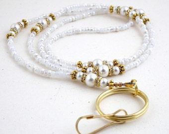 Beaded Lanyard - White Pearls, Crystal Rondelles, Gold