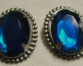 Silver Tone Oval Blue Glass Rinestone Pierced Earrings