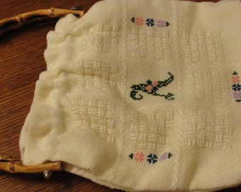 Inital A Floral Cross Stitch Fabric Purse with Bamboo Handles