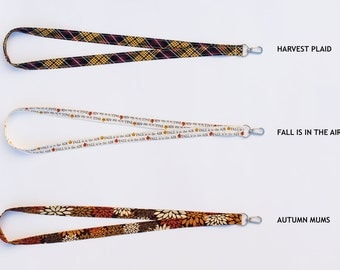 Fall Lanyards - (Available in Harvest Plaid, Fall Is In The Air, OR Autumn Mums)
