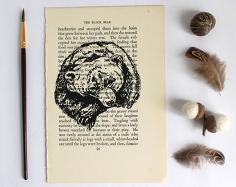 The Black Bear Print on Vintage Book Page from Lovable Beasts