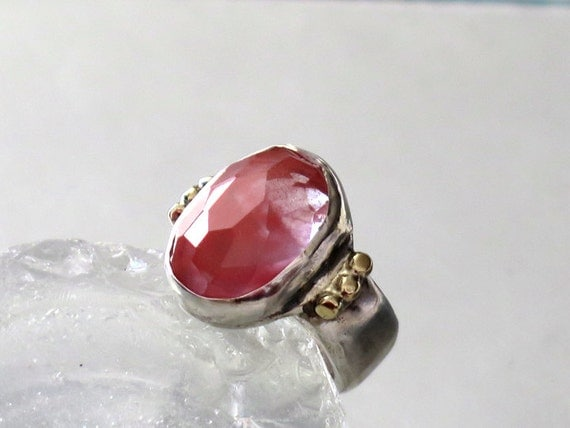 Fine Jewelry Ring, Cherry Quartz Ring, Sterling Silver Statement Ring, Contemporary Pink Ring, Trendy rings silver gold