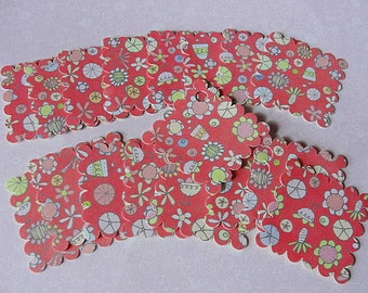"""TAGS--Scrap Booking-Gifts--Craft Projects--REVERSIBLE--Square--Scalloped--1-5/8""""-Acid Free Cardstock-Hole or NO Hole-You Choose-Country"""