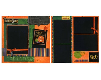 Premade Halloween Scrapbook Page Set - Pumpkin Carving Time