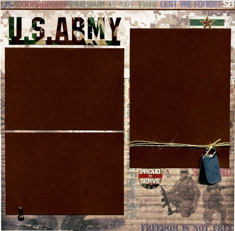 Armed Ready To Serve: U.S. Army Premade Military Scrapbook Page Set
