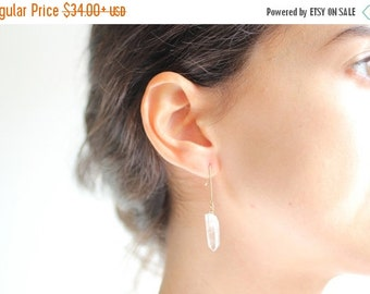 FALL SALE 30% OFF Minimalist Crystal Quartz Earrings - Brass, Gold Filled or Sterling Silver