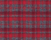 Hipster Flannel fabric, Red fabric, Red Gray Plaid, Flannel by the yard, Lumberjack Chic, Mammoth Flannel Red, Robert Kaufman, Blanket,