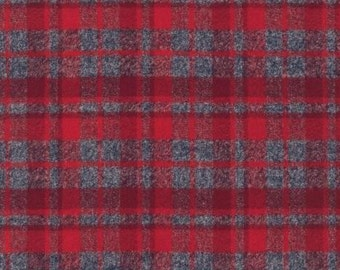 Hipster Flannel fabric, Red fabric, Flannel by the yard, Lumberjack Chic, Mammoth Flannel, Medium Plaid in Red/gray, Robert Kaufman, Blanket
