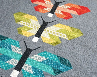 Frances Firefly Quilt Kit, Elizabeth Hartman, Pattern and fabrics for Quilt Top, Rhoda Ruth fabrics, Butterfly Quilt