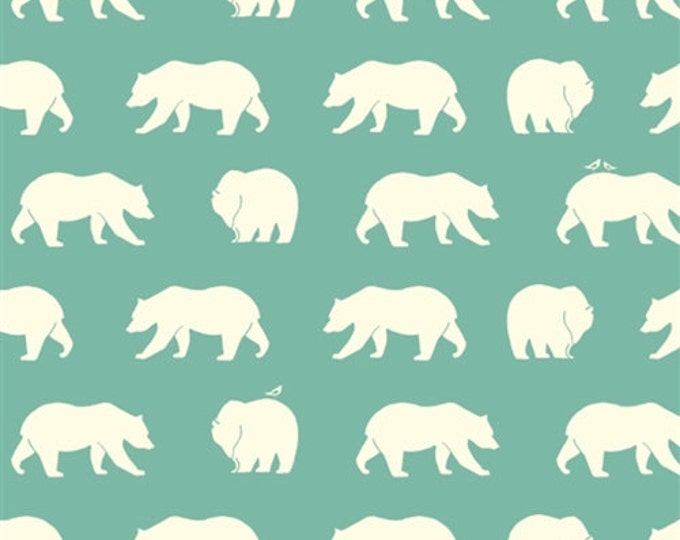 ORGANIC fabric, Bear Camp by Birch Fabrics- Bear Camp in Pool, Aqua fabric, Bear fabric, Animal fabric, Nursery, Choose your cut