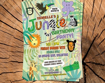 Customized Jungle Party Invitation - Digital File
