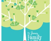 PRINTABLE Family Tree, Digital File for Printing - Custom Family Tree - Heart - Personalized Family Tree Art Style #4