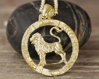 Gold Leo zodiac pendant - More options available
