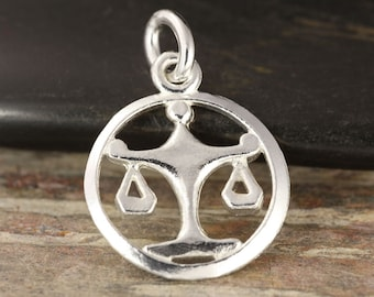 Libra zodiac pendant in sterling silver - Scale necklace, zodiac necklace, zodiac jewelry, astrology