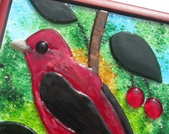 Fused Glass Painting Scarlet Tanager Tile Panel Keepsake Jewelry Box