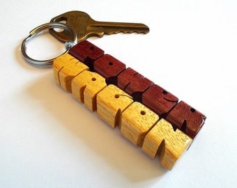 Custom 2-Liner Keychain, Purpleheart and Pau Amarello Woods, Carved to Order