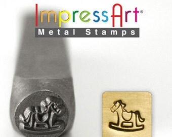 ImpressArt Metal Design Stamp, 6mm Rocking Horse Design Jewelry Leather Wood PMC
