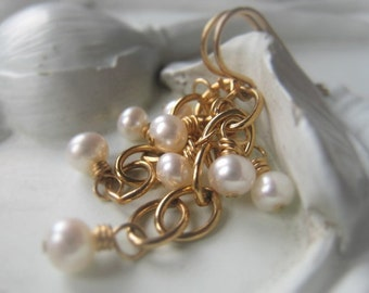 Freshwater Pearl Earrings 14K Gold Filled Earrings Gemstone Earrings Cluster Earrings White Earring Item No. 4601 2947