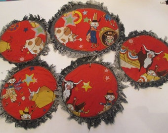 Free Shipping Customizable Cowboy Coffee Break Platter and Plates with Food on Denim Side Free Shipping