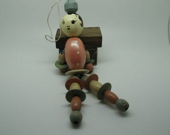 Vintage Bead Doll Baby Toy Wood Pink Blue