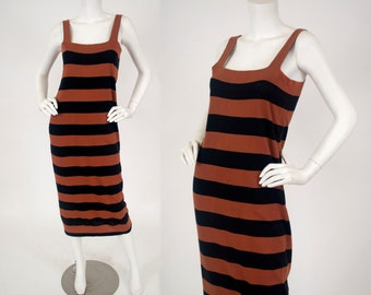 Georges Rech Unanyme Late 1970's Vintage Italian Cotton Striped Long Tank Dress - AS IS