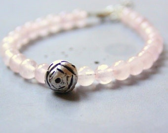 Rose Quartz Bracelet with Sterling Silver Rose - Semiprecious Gemstone, Silver flower